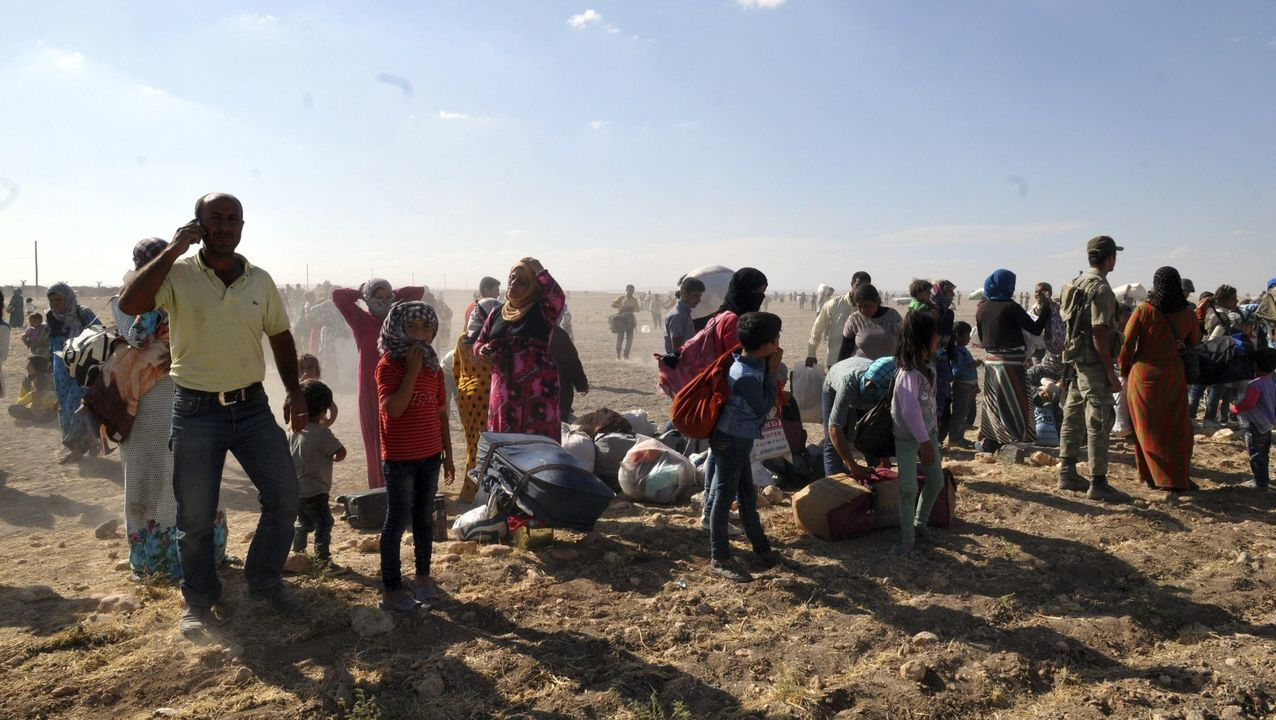 Refugiados sirios en una imagen de archivo