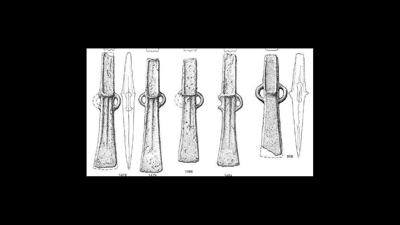 Detalle del tipo de hachas descubiertas en 1895