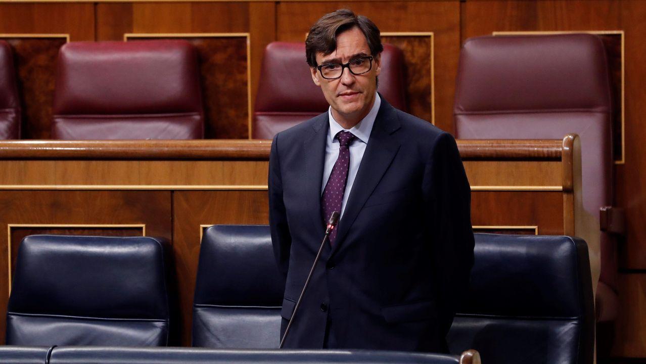 Mitin de Pedro Sánchez en Ourense.El ministro de Sanidad, Salvador Illa, esta mañana en el Congreso