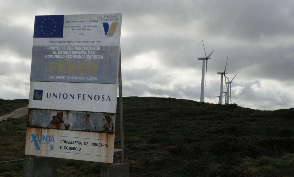 Parque eólico de Gas Natural en el Cabo Vilán donde se pretende instalar las baterías.