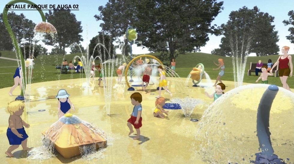 Así será el nuevo parque acúatico infantil urbano de Pontevedra.La portavoz del gobierno de Pontevedra , Anabel Gulías, con el alcalde, Miguel Anxo Fernández Lores