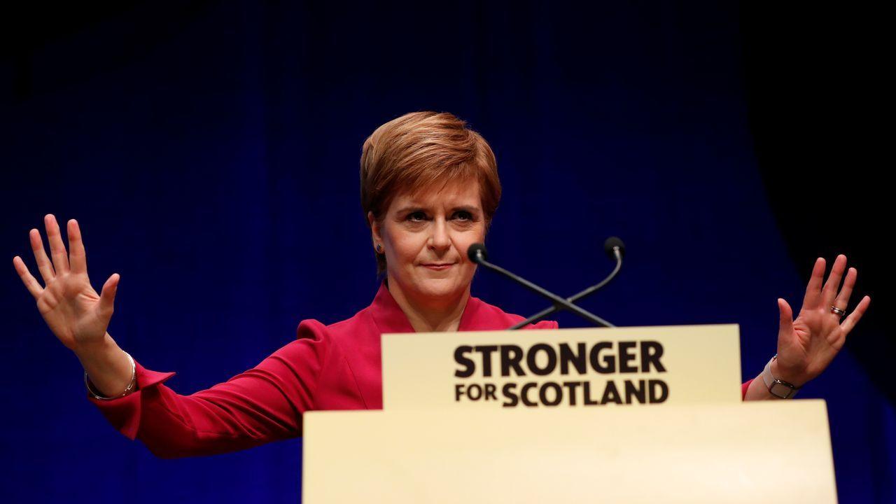 Partidario de la independencia de Escocia durante un acto electoral a favor del sí en el referendum del 2014