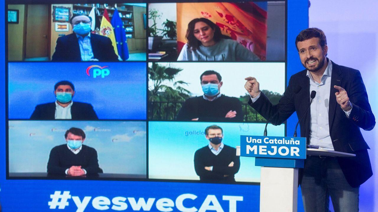 El líder del PP, Pablo Casado, en un acto de la campaña catalana en el que intervinieron telemáticamente, entre otros, Alberto Núñez Feijoo, Juan Manuel Moreno y Alfonso Fernández Mañueco.