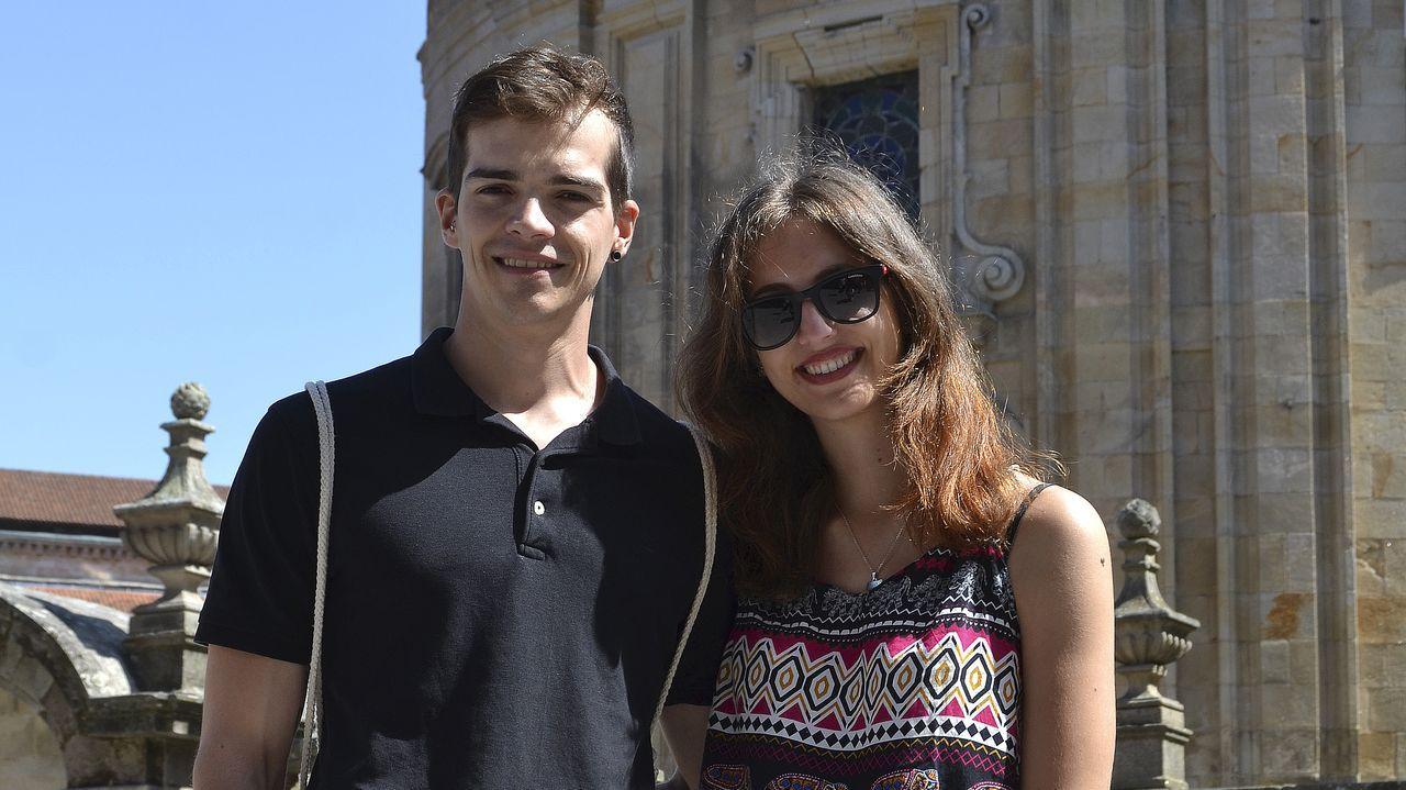 Xavi y Jessica durante su visita a Pontevedra