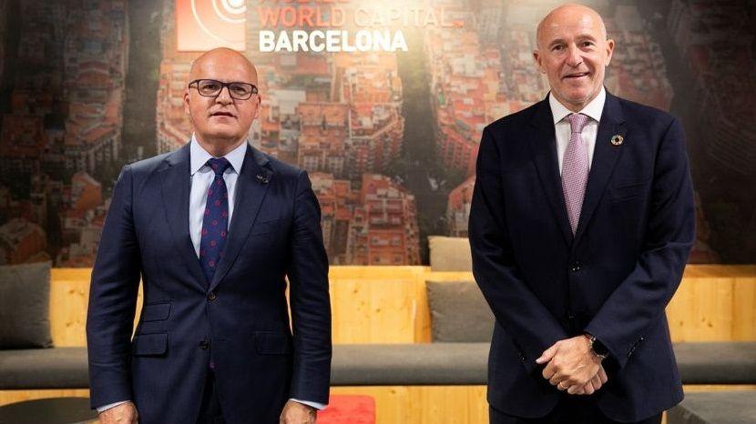 El presidente de la Diputación ourensana, José Manuel Baltar, y Carlos Arnau, CEO de la Mobile World Capital Barcelona