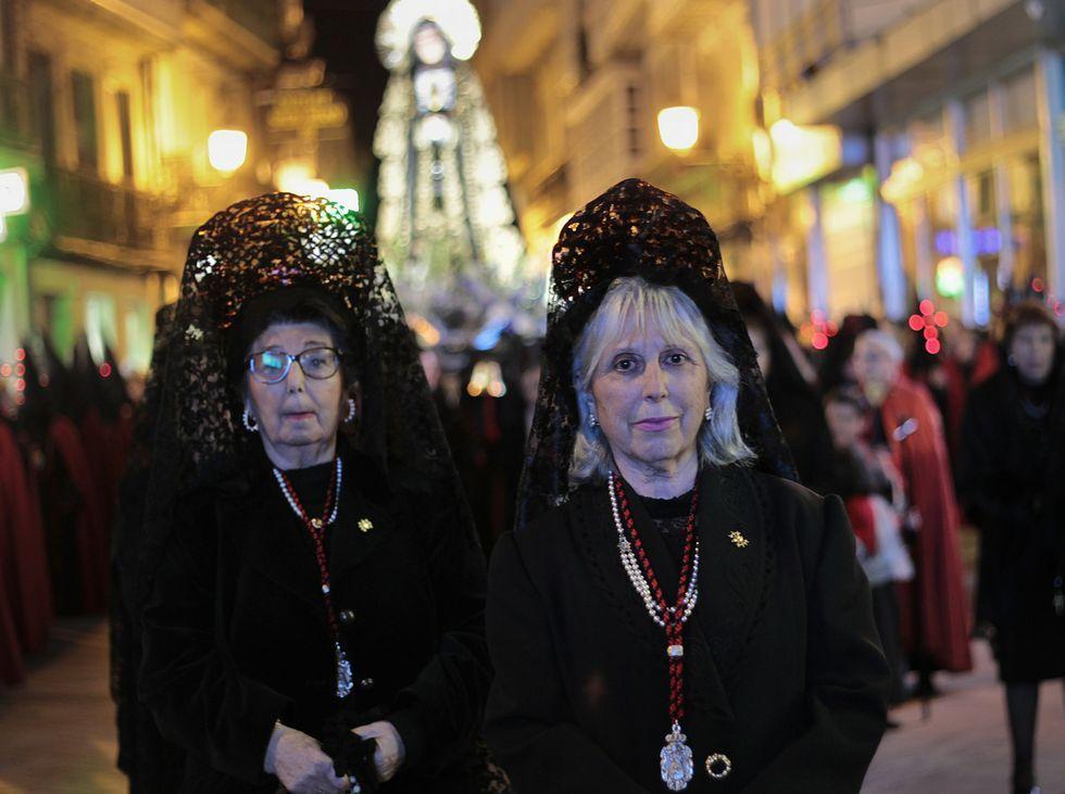 Todas las procesiones de la Semana Santa en Santiago.La procesión recorrió el centro de la ciudad.