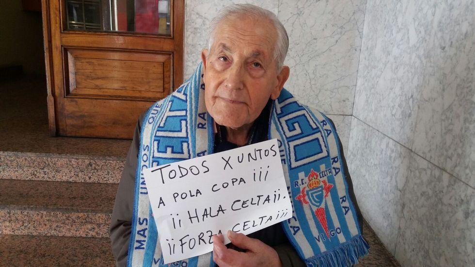 José Castro Barreiro tiene 93 años, los mismos que el club al que hoy arropará una vez más