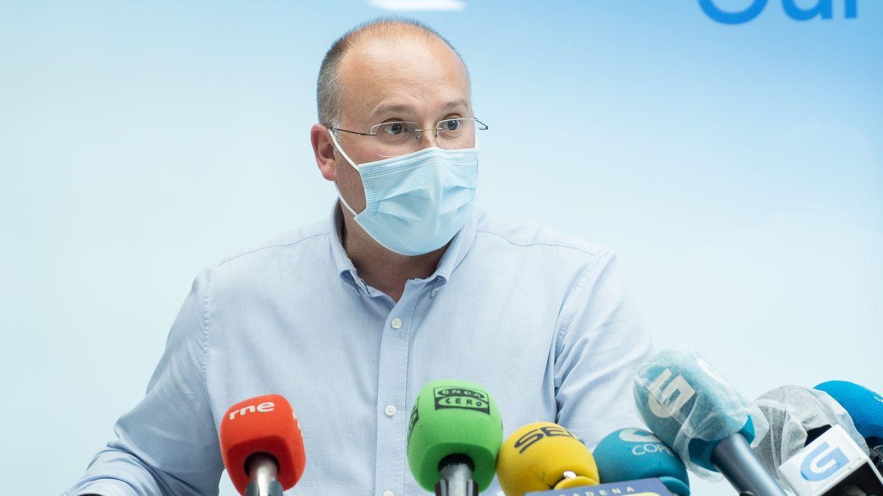 Miguel Tellado, durante su comparecencia ante los medios de comunicación en Ourense