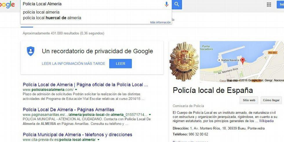 Esto es lo que aparece en Google al buscar la Policía Local de Almería.