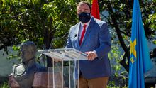 El presidente del Principado, Adrián Barbón, durante el acto de conmemoración en Tuña del bicentenario del pronunciamiento militar del general asturiano Rafael del Riego