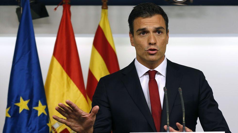 El Secretario General del PSOE, Pedro Sánchez, valorando los resultados de su partido