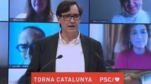 El ministro de Sanidad, Salvador Illa, en su primer acto como candidato del PSC a la presidencia de la Generalitat