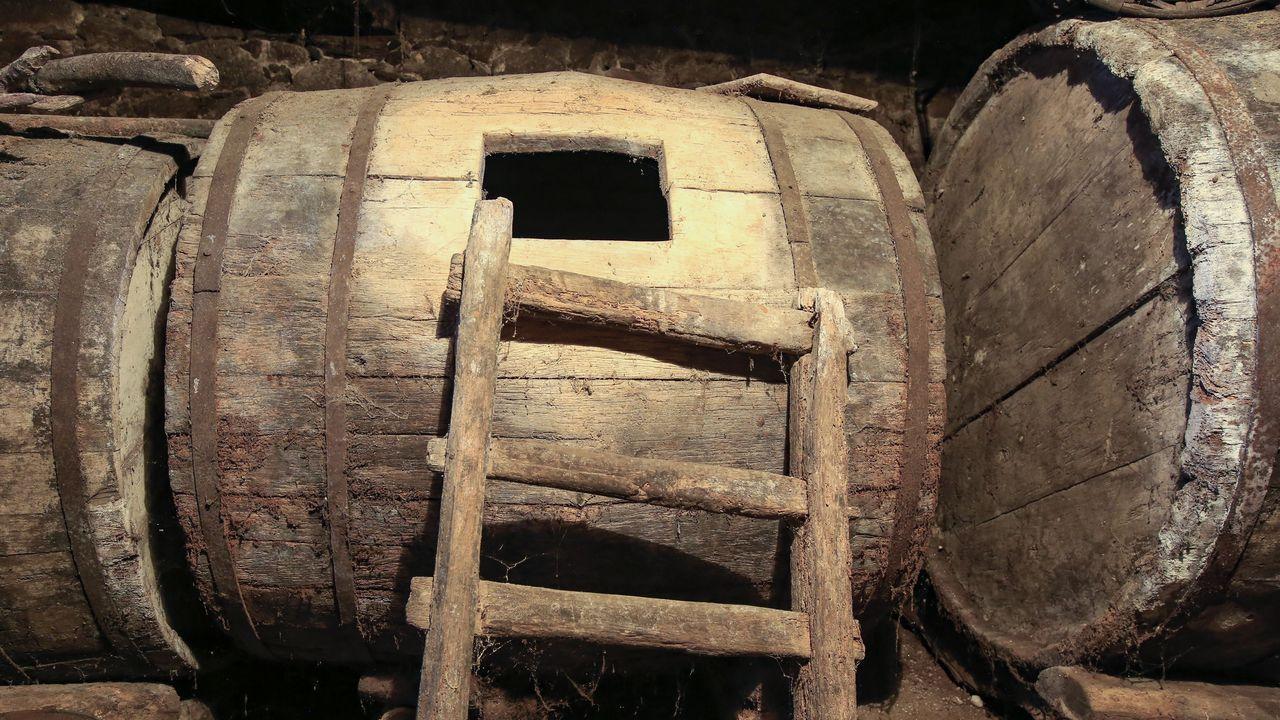 Viejas bodegas de castaño en la bodega de Primitivo Lareu en Sabadelle, Chantada