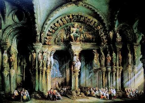 Una visión tangible del colorido del Pórtico de la Gloria se puede apreciar en el óleo de Pérez de Villaamil.