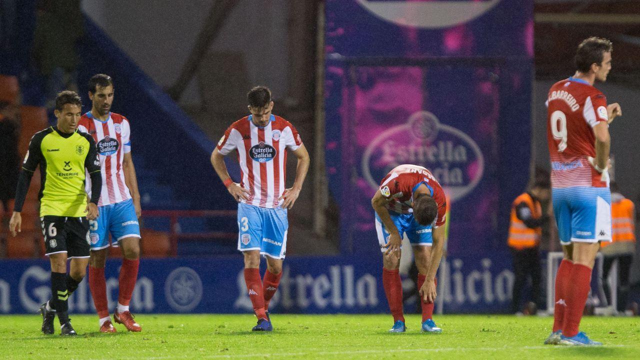 Las mejores imágenes del Deportivo - Almería.Los jugadores del Real Oviedo, con Saúl en primer plano, celebran un gol