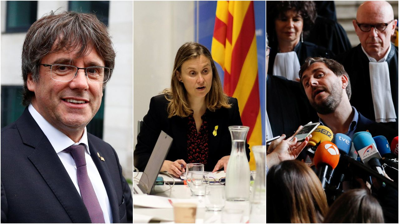 Carles Puigdemont, Merixell Serret y Antoni Comín