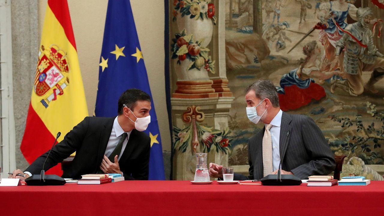 Sigue en directo el actodel Día de la Fiesta Nacional.El rey y Pedro Sánchez, este martes en la reunión anual del Patronato del Instituto Cervantes