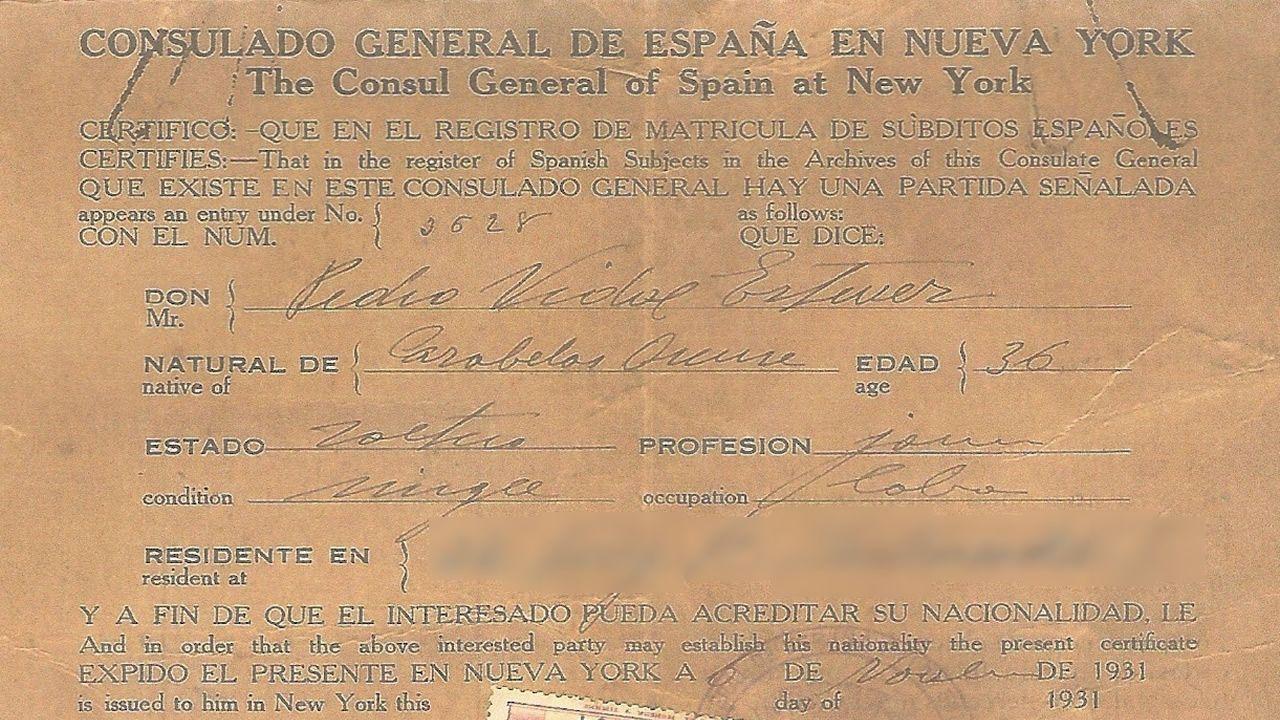 Certificado de nacionalidade de Pedro Vidal, natural de Garabelos (Bande), un dos emigrantes que accederon aos Estados Unidos por Ellis Island