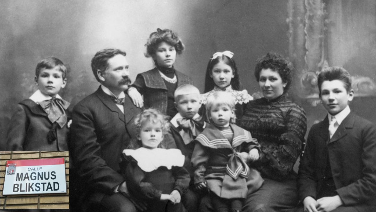 Proyecto Tabacalera Gijón puzle.El empresario noruego Magnus Blikstad, con su familia en la imagen En el recuadro, el rótulo de su calle en Gijón