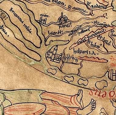 Hannah Arendt.<span lang= es-es >La catedral de Santiago, en el mapamundi de Sawley.</span> El conocido como mapamundi de Sawley está fechado en 1190 y se cree que fue elaborado en la ciudad inglesa de Durham. Occidente está situado en la parte inferior del mapa, donde se encuentra Hispania y una monumental basílica, la más grande de Europa, identificada como «Galicia».