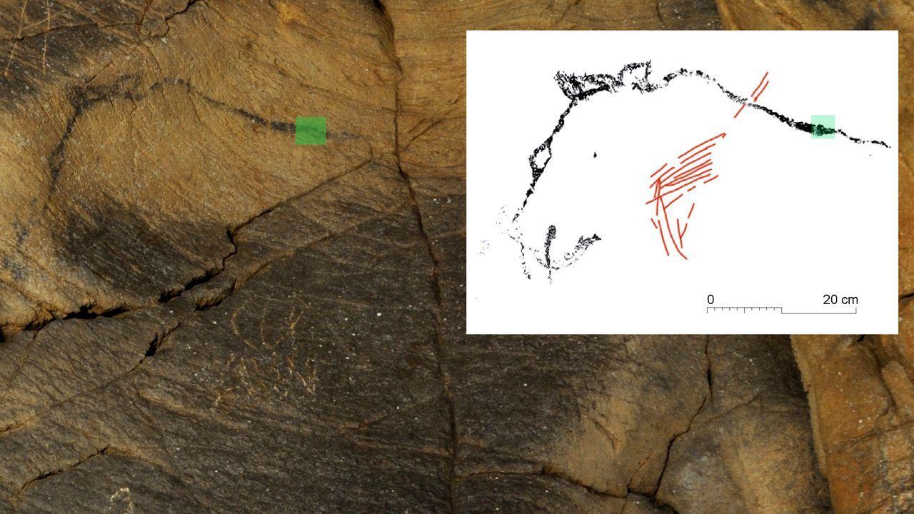 Una de las pinturas (a la izquierda) muestra el perfil de un oso. A la derecha, un dibujo realizado por los arqueólogos para apreciar mejor la figura
