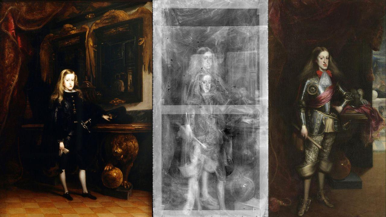 A la izquierda, el óleo del museo asturiano, Carlos II a los diez años. A la derecha el retrato del rey en el Museo del Prado, ambos de Carreño de Miranda. En el centro, la radiografía del segundo, que muestra una imagen original muy parecida a la del primero.