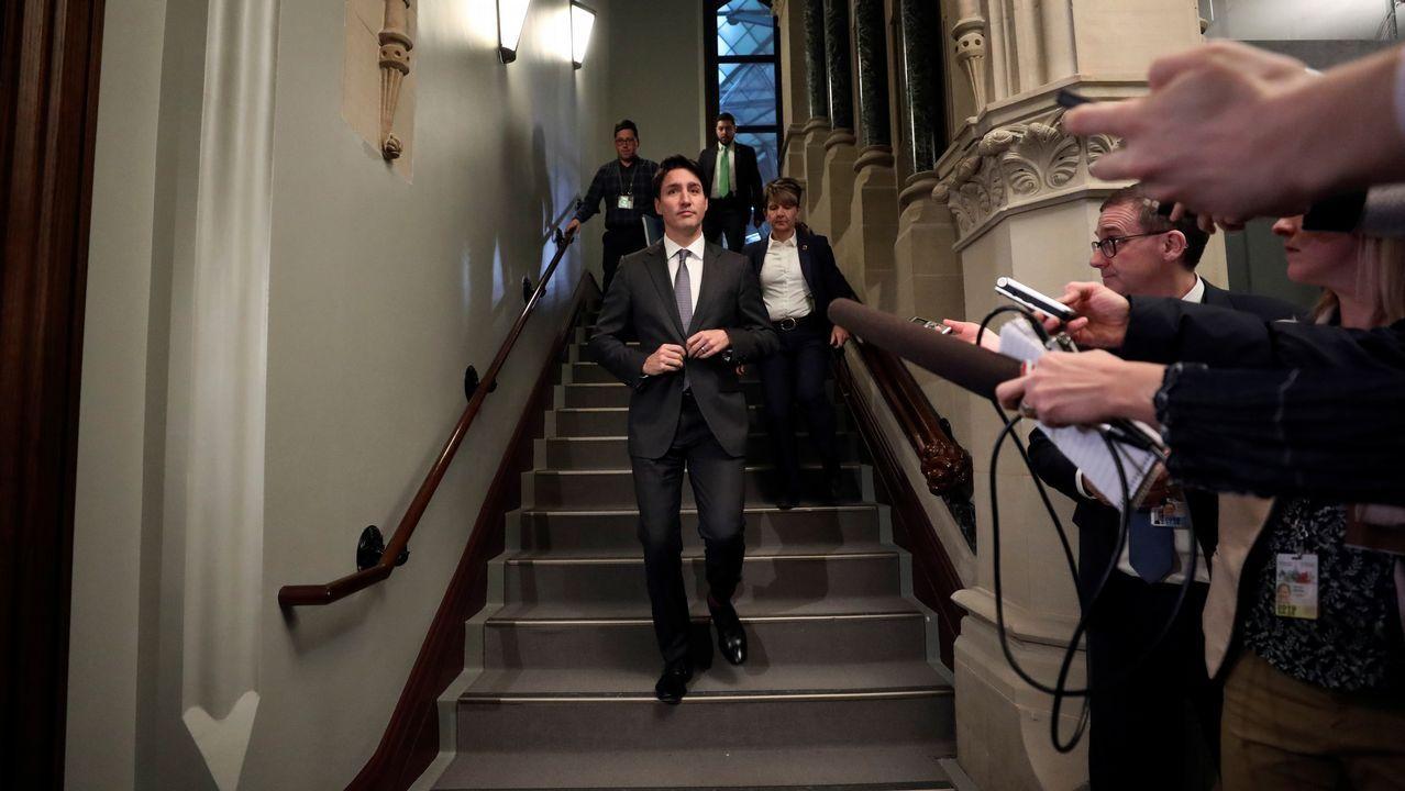 La polémica proyección de los papeles de Bárcenas.Justin Trudeau, a su llegada al Parlamento