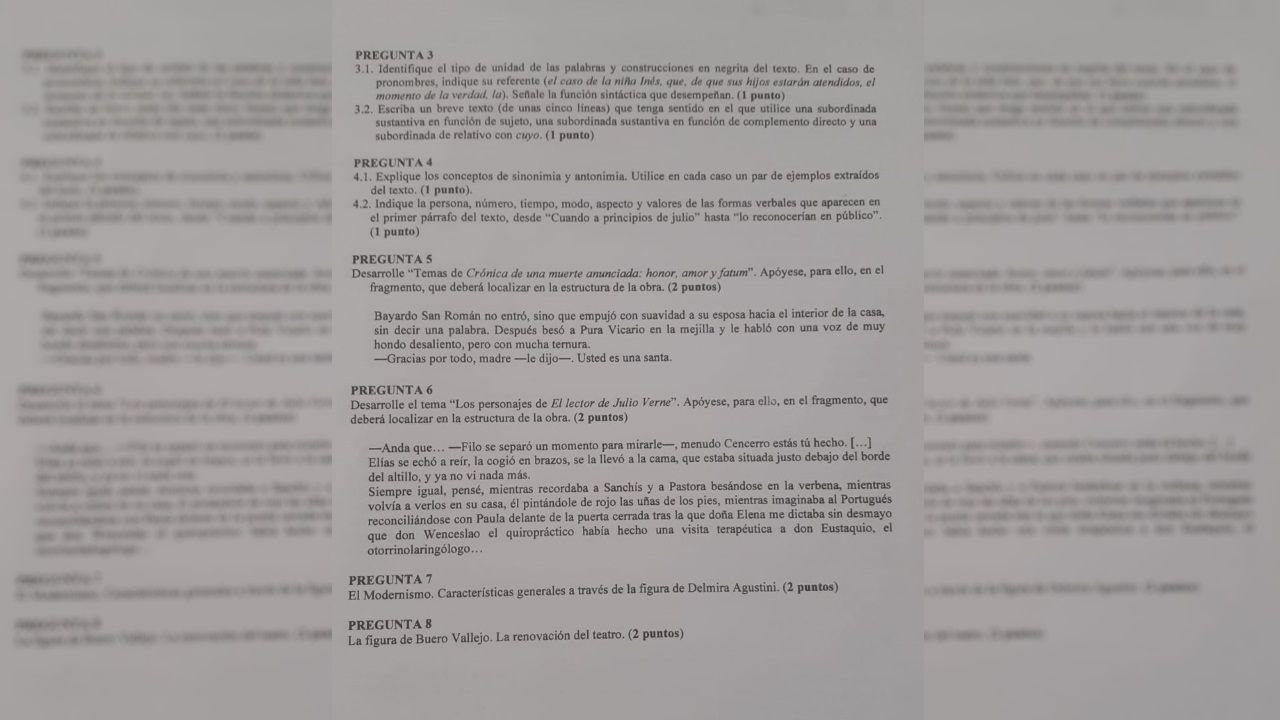 Examen de Lengua Castellana y Literatura de la ABAU 2020