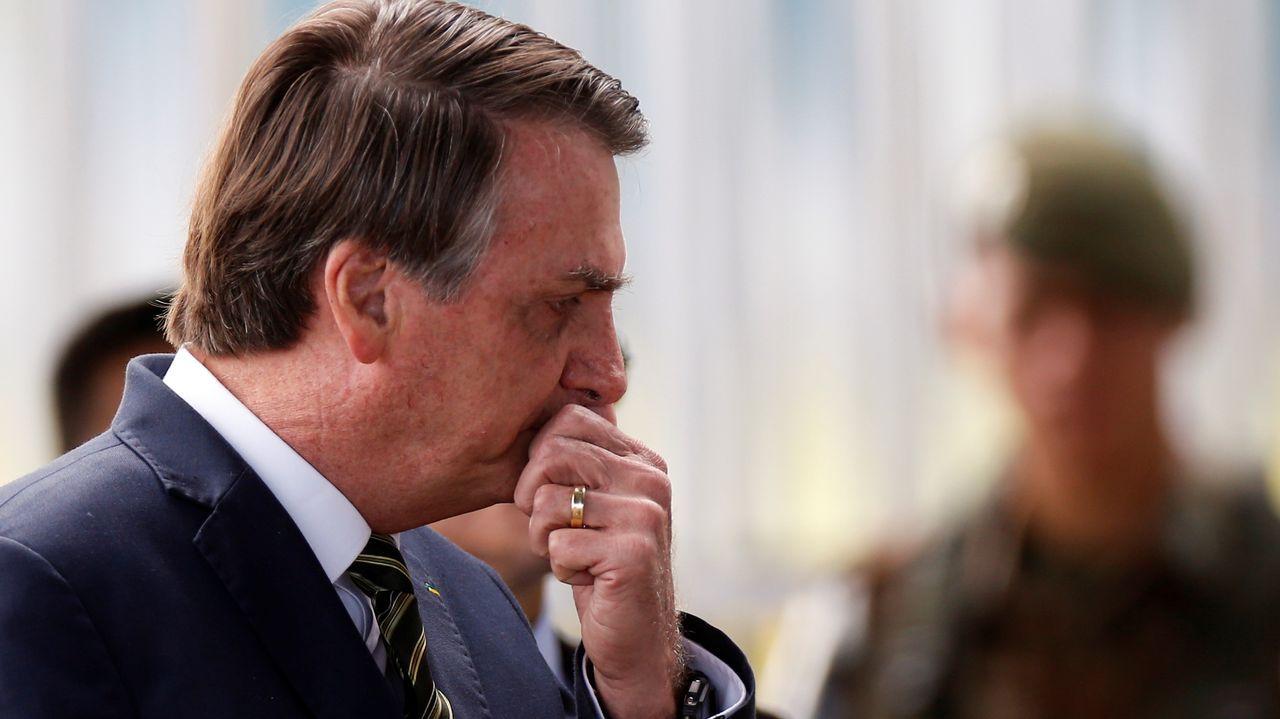 Bolsonaro, a su salida del palacio Alvorada