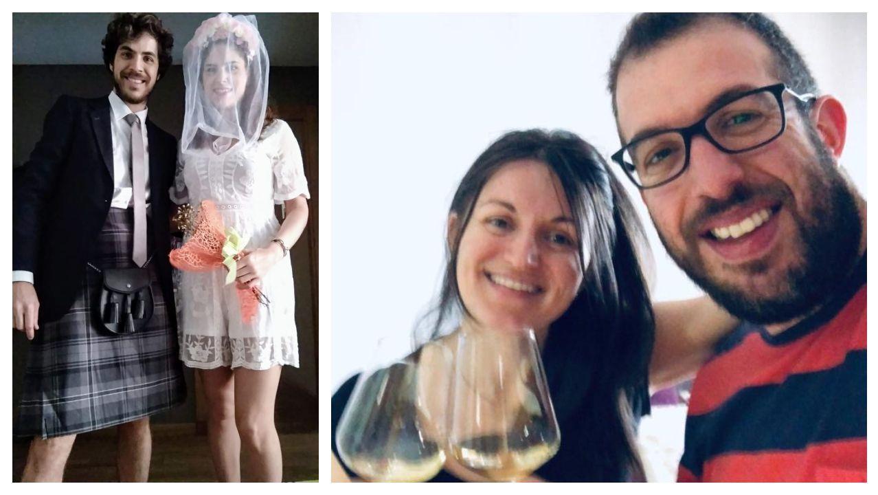 La pareja «recién casada», luciendo sus peculiares trajes; a la derecha, dos invitados en pleno brindis desde su casa