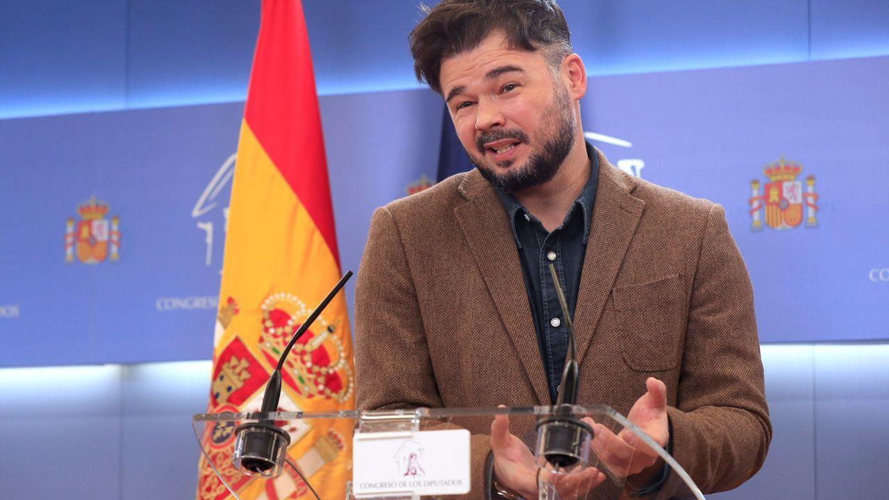 El portavoz en el Congreso de ERC, Gabriel Rufián, este martes durante una ruede de prensa
