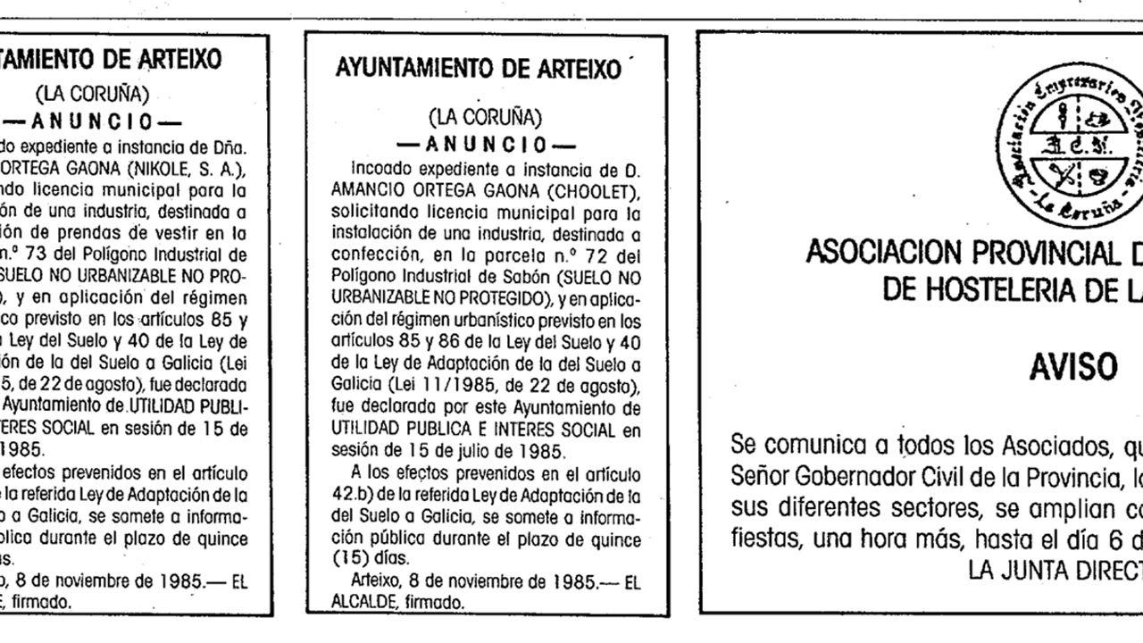 28 de diciembre de 1985: Amancio Ortega solicita licencia municipal para la «instalación de una industria» en Arteixo