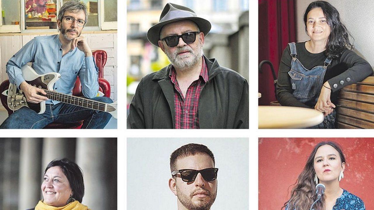 Xoel López, Julián Hernández, Guadi Galego, Uxía, Tarsi Ávila y Faia Díaz