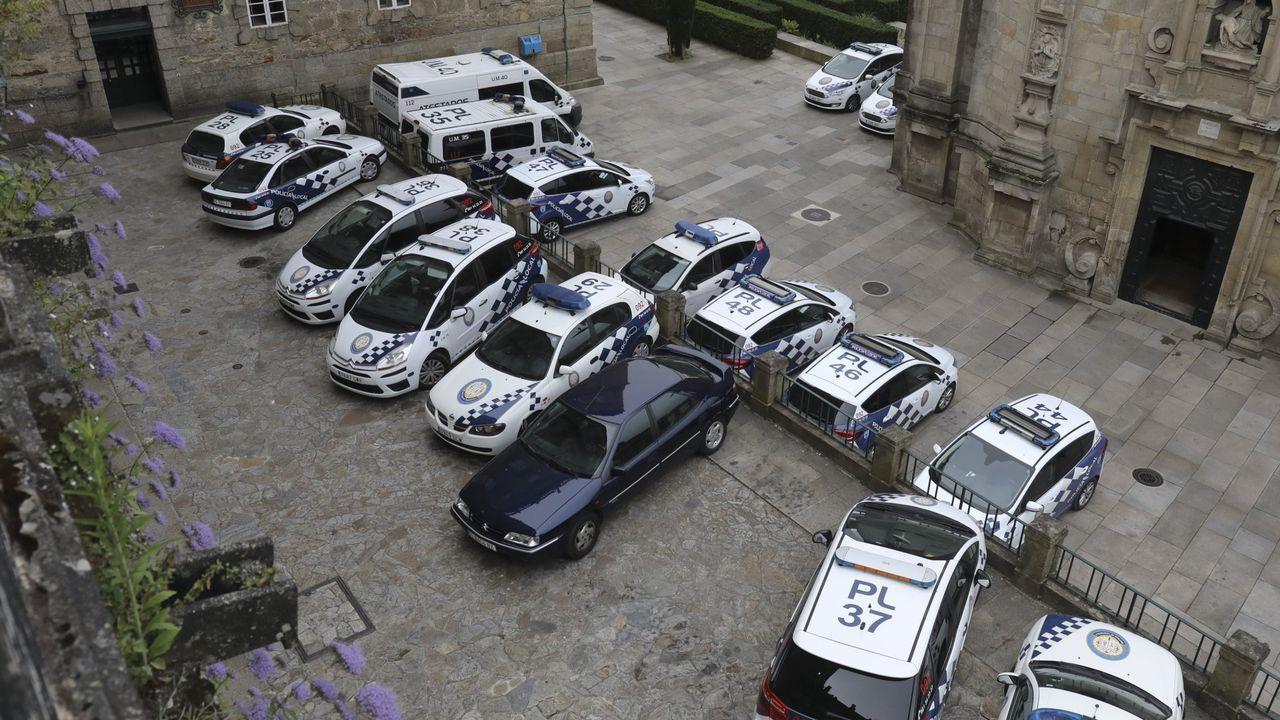 Carnaval en A Coruña.Dos agentes de la Guardia Civil de Tráfico de Galicia inspeccionando un camión este miércoles