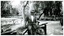 Unha imaxe do escritor Celso Emilio Ferreiro tomada no parque Isabel la Católica de Xixón no ano 1975.