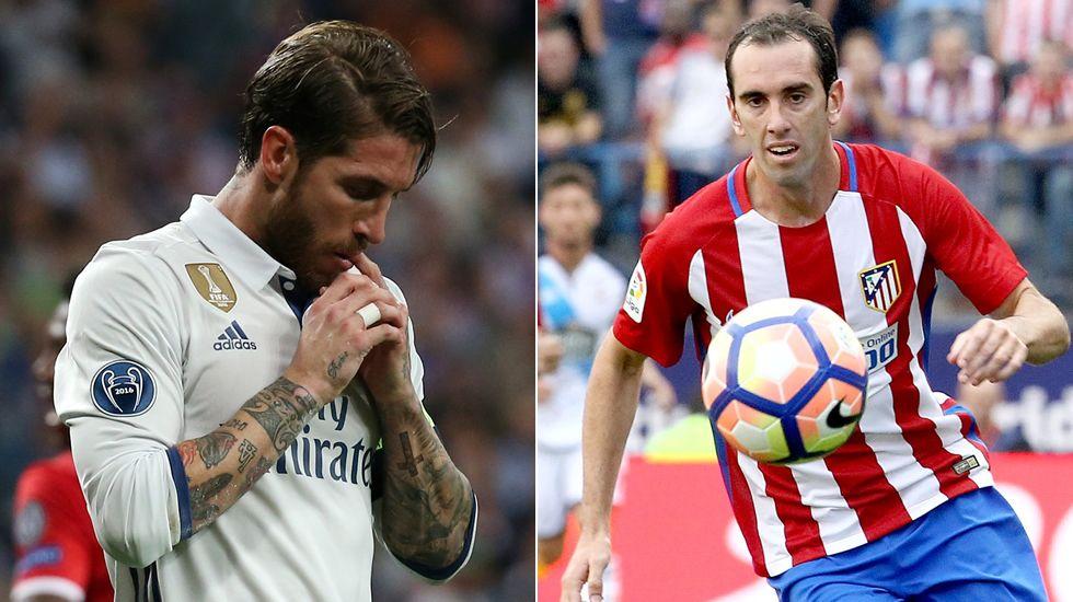 RAMOS - GODÍN. Dos estilos. En el Atlético conceden poco próximos al área y en juego aéreo. Los del Madrid necesitan más metros e intervenir con la pelota, tienen más versatilidad.
