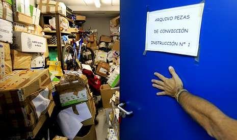 Miles de objetos utilizados como pruebas en juicios se almacenan en las dependencias de instrucción.
