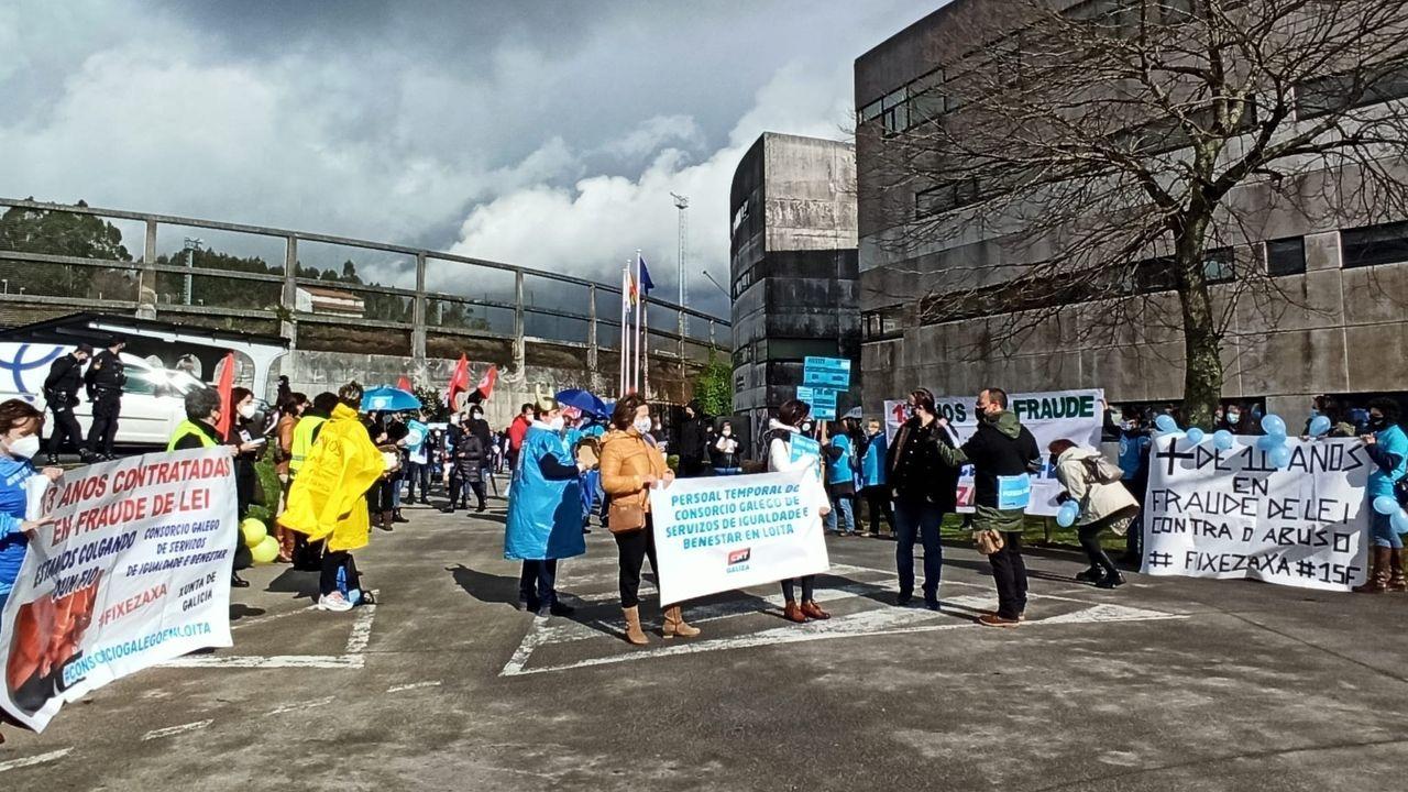 alcoa.Concentración de trabajadores del Consorcio en Santiago