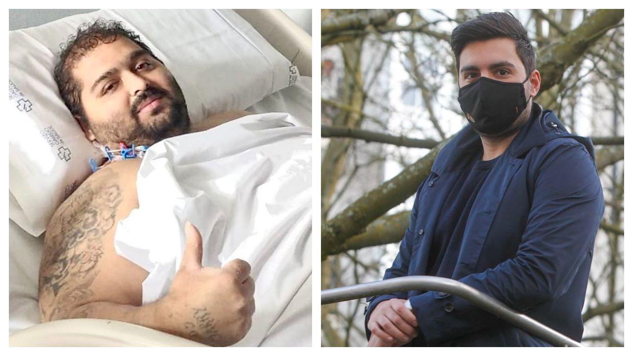 José Luis Casal, a la izquierda, en el hospital Montecelo, donde se recuperaba hace unos días; a la  derecha, Marcos Álvarez, en Ferrol, donde superó el covid en enero