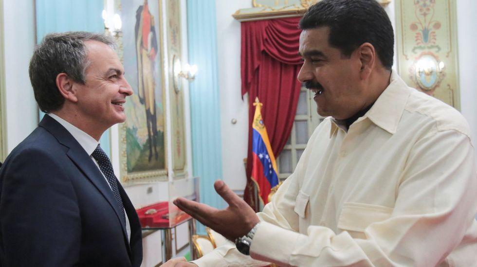 Rodríguez Zapatero y Maduro, durante la entrevista celebrada en mayo en Caracas