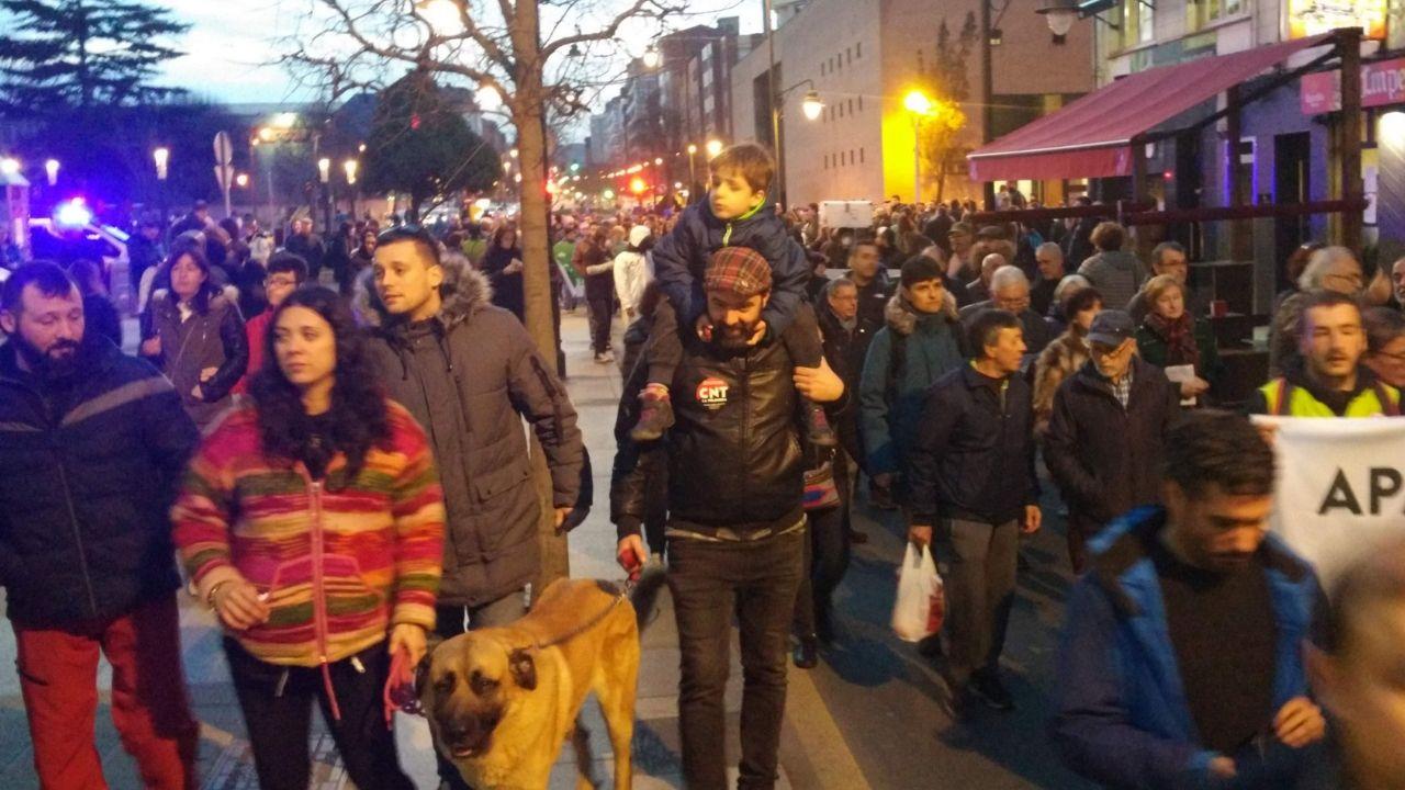 Manifestantes, en la avenida de la Argentina