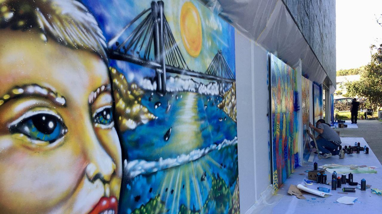 Jornada de arte urbano en el exterior del Verbum, en marzo del 2019