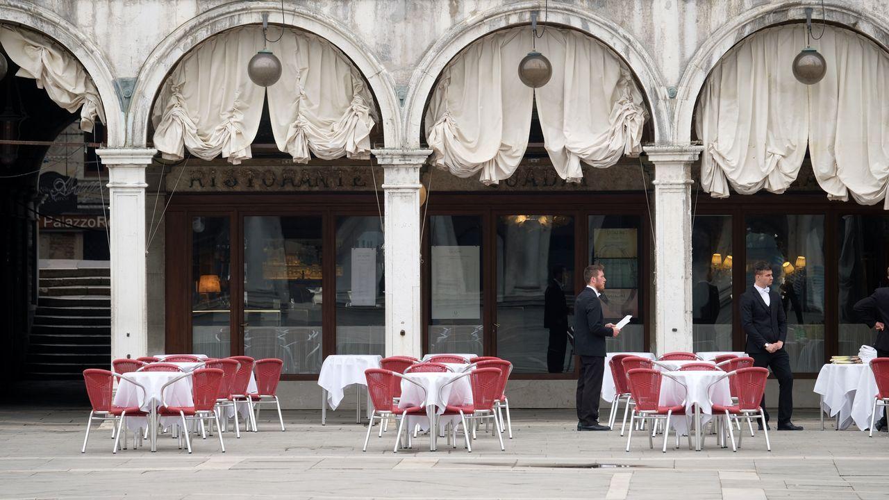 Una terraza en la plaza de San Marcos de Venecia.