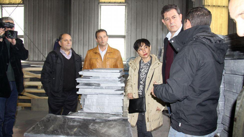 Rocío de Frutos y Luis García Mañá, en la sede del PSOE, con los afines a Besteiro.