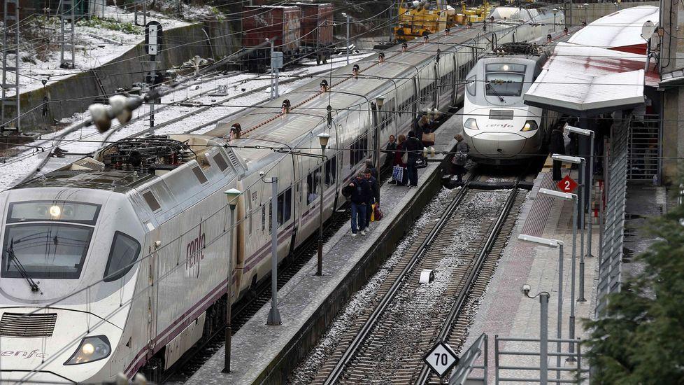 Trenes de Renfe estacionados en Pola de Lena
