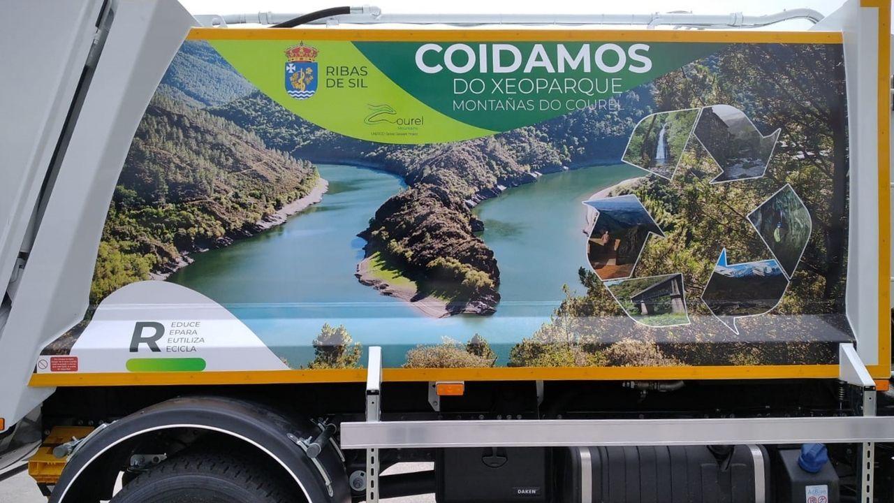 Fauna de los bosques y ríos de la sierra de O Courel captada con fototrampeo.Los laterales del nuevo camión están decorados con imágenes representativas del geoparque