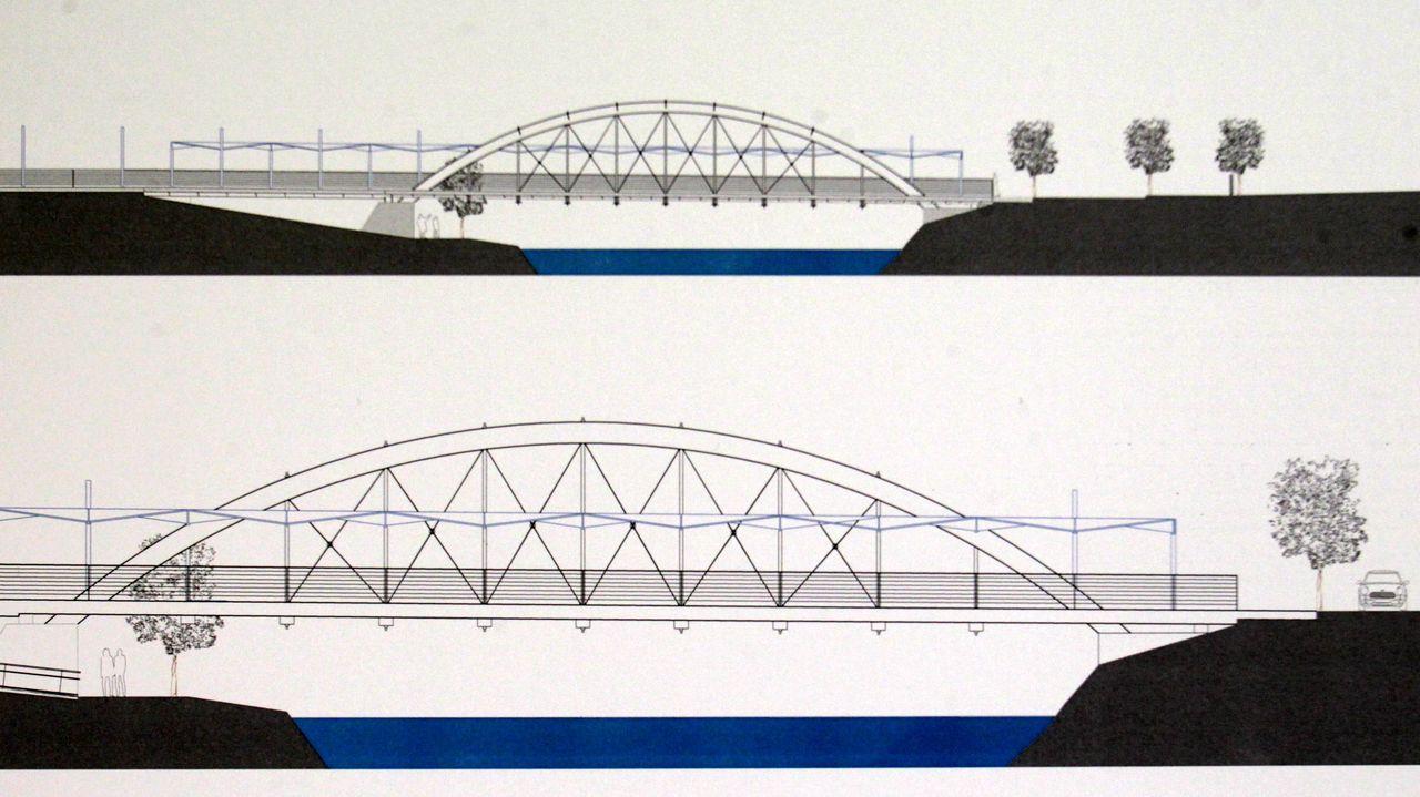 En este plano se aprecia cómo el proyecto deja paso por la orilla y debajo del puente, pero solo en la orilla de Ramberde, que además lleva rampas  de bajada desde la acera al río
