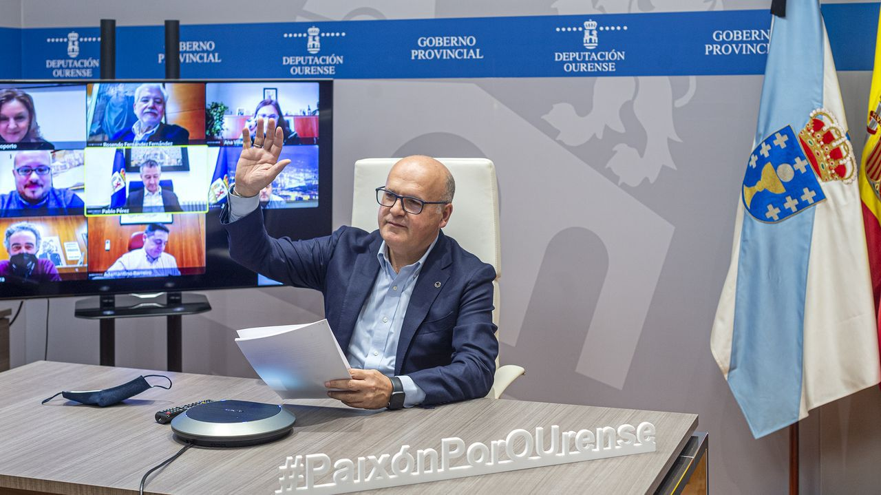 El Calvo Xiria-Carnes do Ribeiro, en imágenes.Baltar, durante la reunión telemática de la Xunta de Goberno