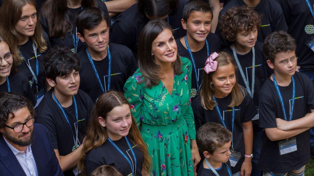 La reina Letizia asiste a la lección magistral del director de orquesta Aarón Zapico en el Museo Arqueológico.Víctor Manuel