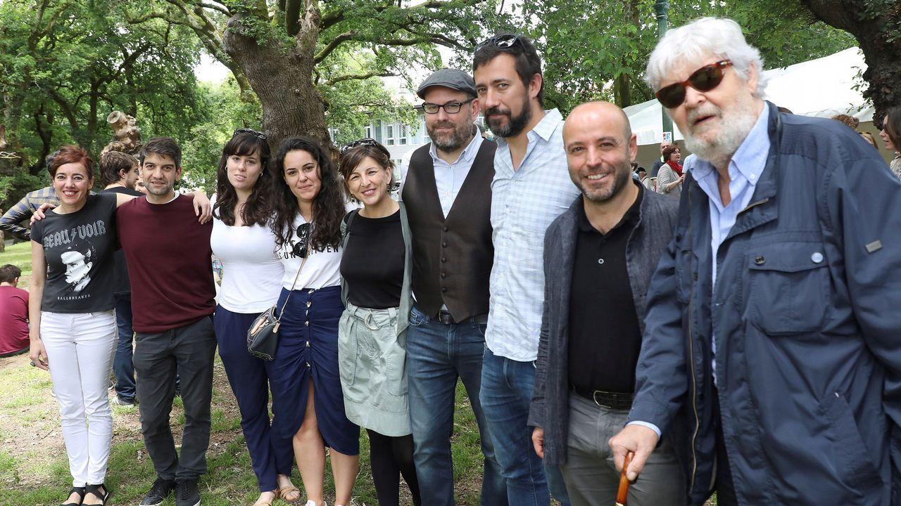 Masivo y bronco plenario de En Marea.Luís Villares, Martiño Noriega, Jorge Suárez, Xosé Manuel Beiras y Xulio Ferreiro comparecen sonrientes en el acto de fin de campaña de las autonómicas del 2016